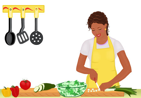 cucumber salad: Beautiful African American young woman cooking fresh salad in the kitchen. Isolated on white. Raster illustration, original vector file saved as AI8 also available.
