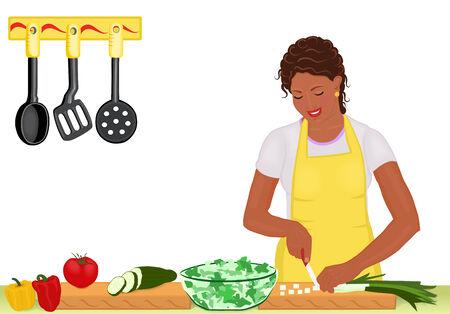 cucumber salad: Beautiful africanos joven estadounidense de cocina ensalada fresca en la cocina. Aislado en blanco. Ilustraci�n de mapa de bits, vector original archivo guardado en formato EPS AI8 tambi�n disponibles.