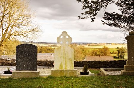 hill of tara: Mystic Ireland - view over the old graveyard on top of sacred Tara Hill (Teamhair na Ri - Hill of the Kings).