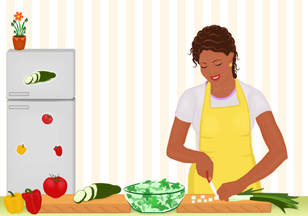 prepare: Beautiful African woman cooking fresh salad - vector file Illustration