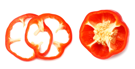cut slices of red sweet bell pepper isolated on white background top view Banque d'images - 118685899
