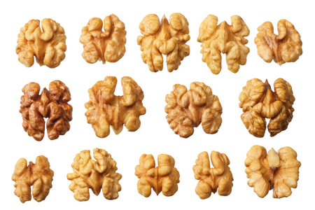 Walnuts isolated on white background top view Imagens