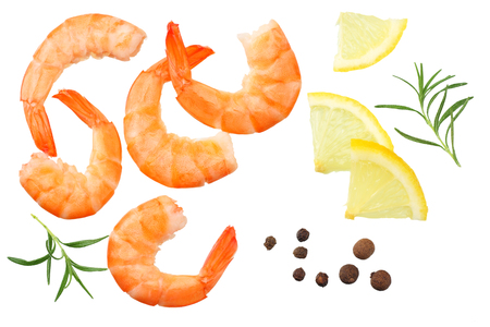 shrimps isolated on a white background. top view Фото со стока