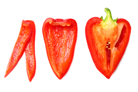 cut slices of red sweet bell pepper isolated on white background top view Banque d'images - 119517706