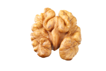 one walnut isolated on white background top view