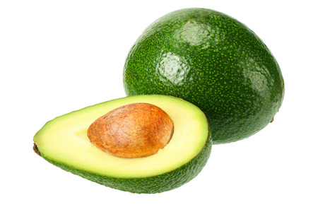 avocado with slices isolated on white background