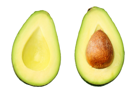 sliced avocado isolated on a white background