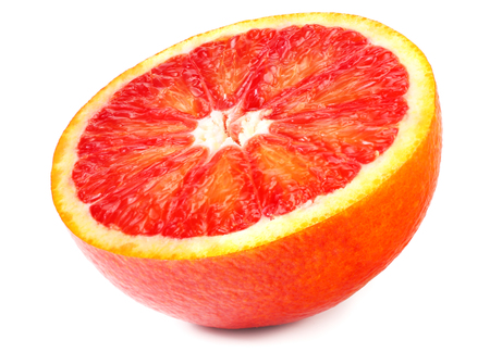 Slice of red blood orange isolated on white background