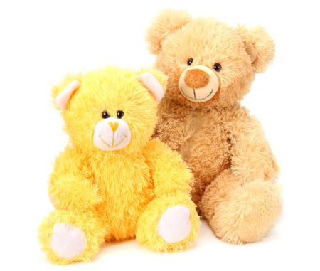 Two toy teddy bears isolated on white background Stockfoto