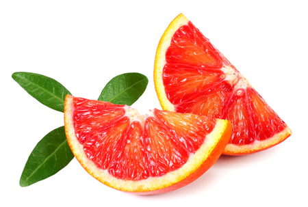 Slice of red blood orange with leaf isolated on white background