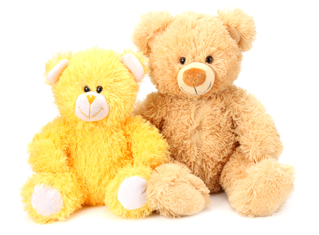 Two toy teddy bears isolated on white background 版權商用圖片