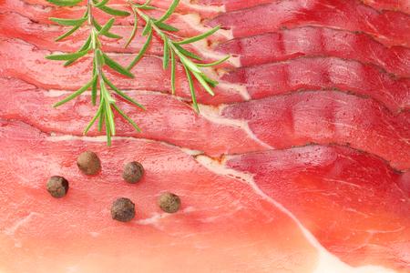 Raw smoked black forest ham background. ham texture. top view. macro