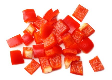 cut slices of red sweet bell pepper isolated on white background top view Banque d'images - 123944801