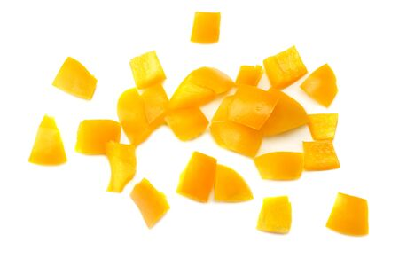 cut slices of yellow sweet bell pepper isolated on white background top view Banque d'images - 125882761
