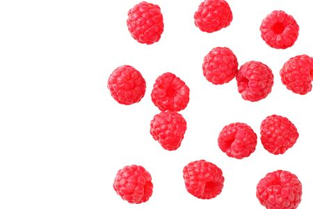 ripe raspberries isolated on white background. top view Stock fotó