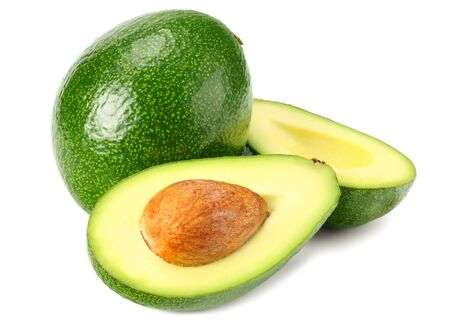 fresh avocado with slices isolated a on white background Фото со стока
