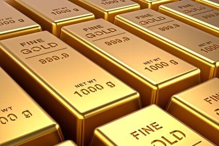 Gold bars background. Financial concepts. 3D illustration