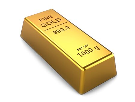 gold bar isolated on a white background. Financial concepts. 3d illustration 写真素材