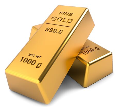 Two Gold bars on a white background. Financial concepts. 3D illustration