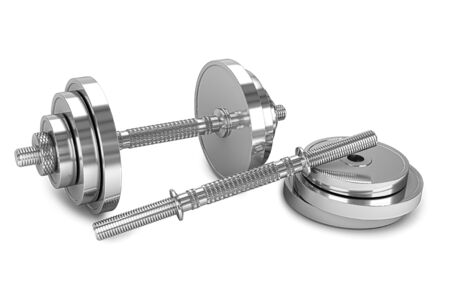chrome dumbbell isolated on a white background. 3d render. 3d illustration 写真素材