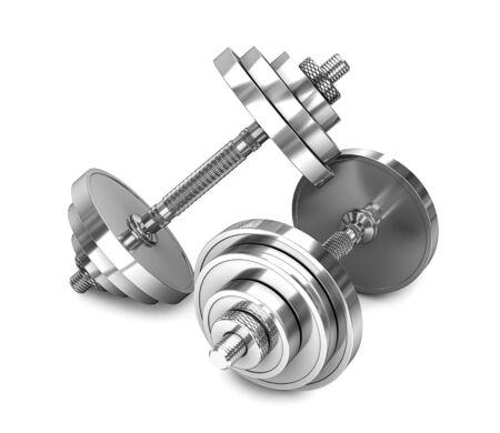 Two chrome dumbbells isolated on a white background. 3d render. 3d illustration 写真素材