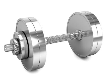 One chrome dumbbell isolated on a white background. 写真素材