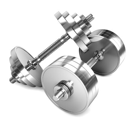 Two chrome dumbbells isolated on a white background.