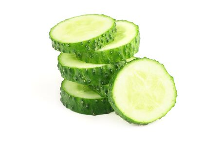 fresh cucumber slices isolated on white background
