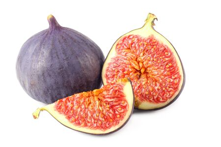 Figs with cut slice isolated on white background Imagens