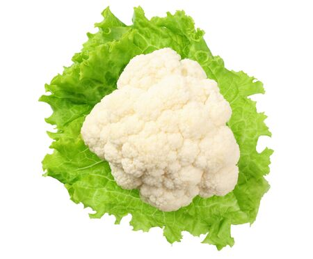 Cauliflower on a lettuce leaf isolated on a white background. top view Reklamní fotografie