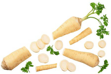 fresh parsley root with slices and parsley isolated on white background. top view