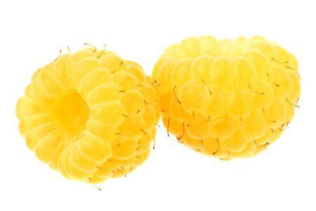Yellow raspberries isolated on white background. macro Reklamní fotografie