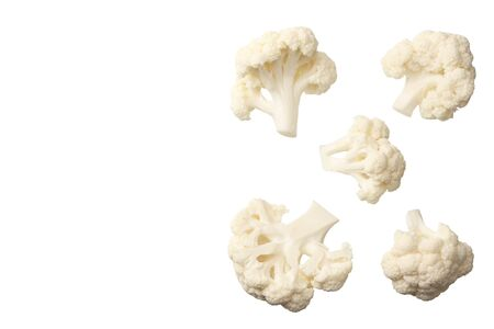 Cauliflower isolated on a white background. top view