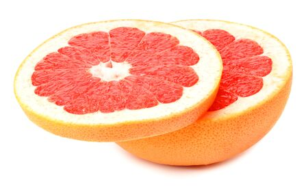 healthy food. sliced grapefruit isolated on white background