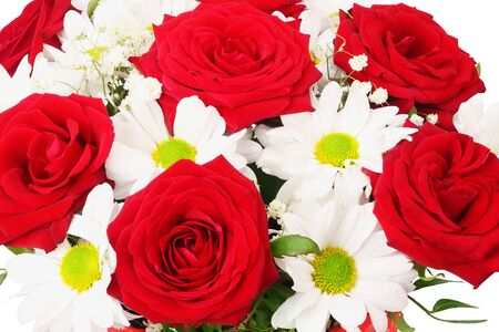 Bouquet of red and white spring flowers on a white background
