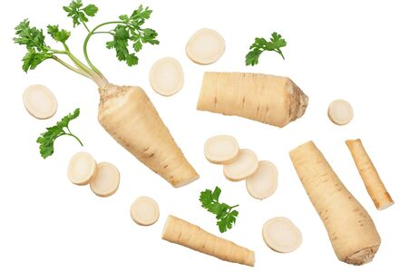 fresh parsley root with slices isolated on white background. top view