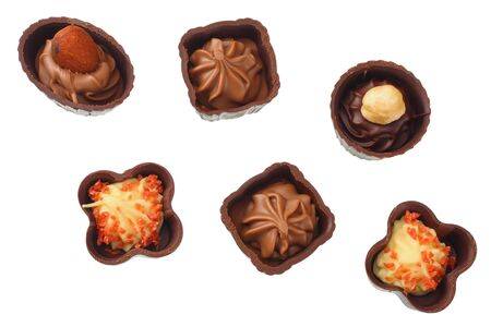 Chocolate pralines isolated on a white background. top view Reklamní fotografie