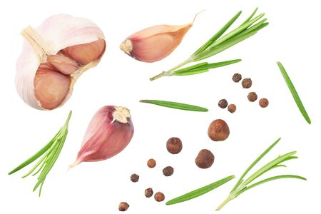 garlic with rosemary, peppercorns and allspice isolated on white background. top view Reklamní fotografie