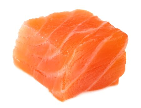 Red fish. Raw salmon fillet isolate on white background