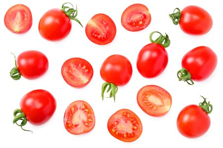 fresh tomato with slices isolated on white background. top view