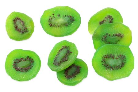 slices dried kiwi isolated on white background. top view Stock Photo