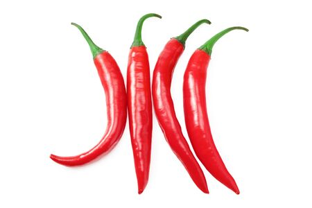 red hot chili peppers isolated on white background. top view