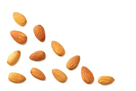 almonds isolated on a white background. Food. top view Imagens