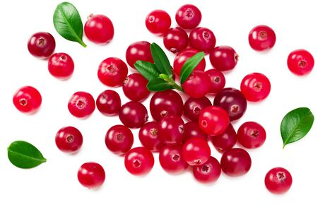 Cranberry with green leaves isolated on white background. top view