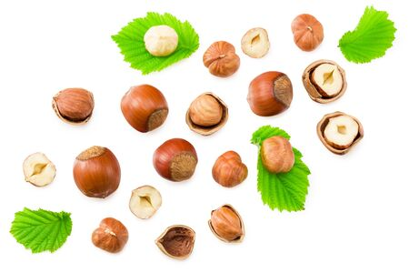hazelnuts with leaves isolated on white background. top view Standard-Bild