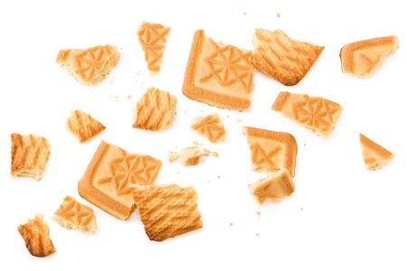 cookies isolated on white background. Sweet biscuits. top view Imagens