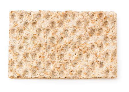 crispbread isolated on a white background. Top view Imagens