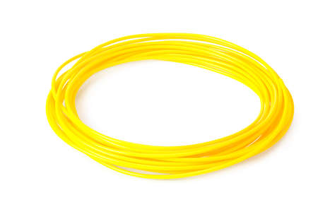 Yellow filament 3d printer isolated on white background Imagens
