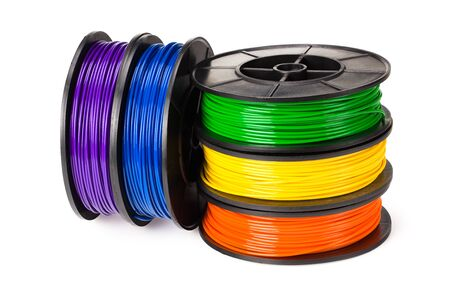 Black, red, blue, green, violet, orange, yellow, white filament 3d printer isolated on white background