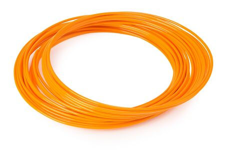 Orange filament 3d printer isolated on white background